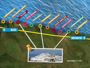 Mappa spiagge Ostuni