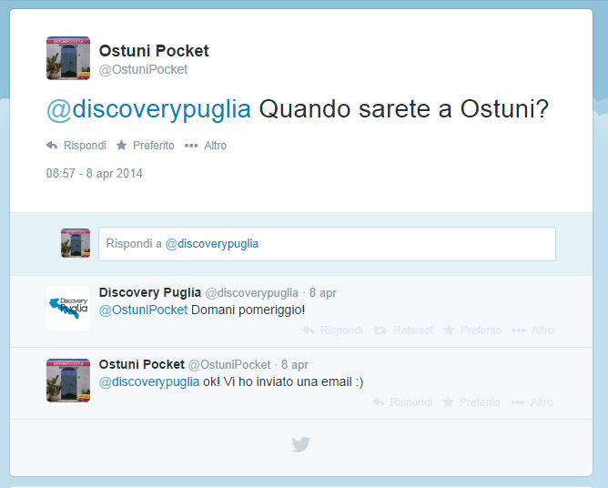 Twitter ostunipocket e discoverypuglia